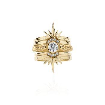 Snake and Star Ring Set 18ct Yellow Gold white diamond