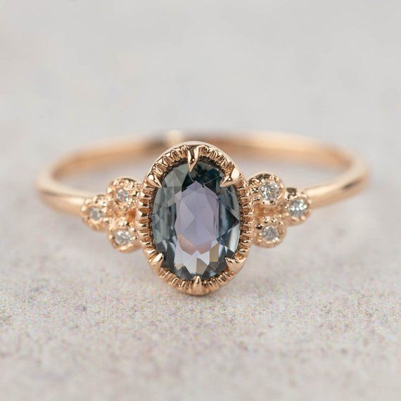 Unheated natural teal sapphire diamond ring, oval peacock sapphire engagement ring, 14k rose gold, unique greenish blue sapphire ring