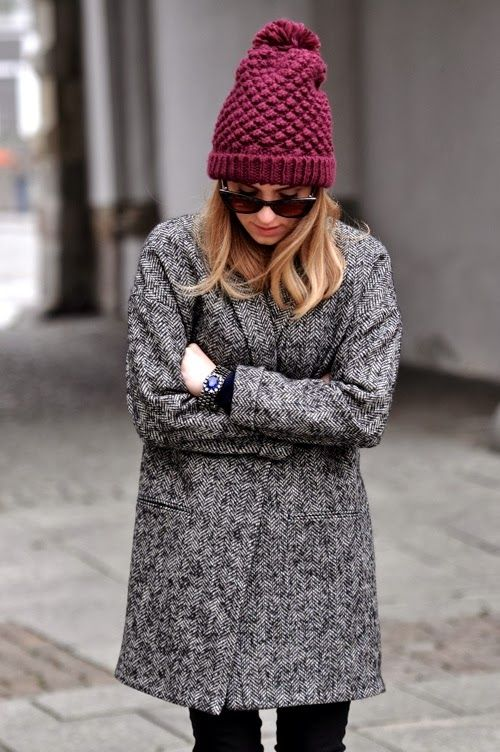 Wine Red Beanie With Winter Coat