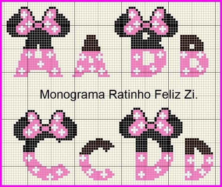 Minnie Com Imagens Alfabeto Ponto Cruz Ponto Cruz Bordado