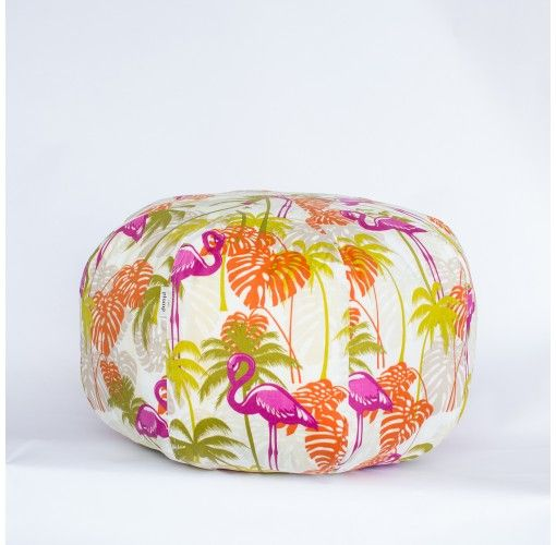 Ottoman with Brilliant Pink Flamingos - Handmade in Noosa, these Plump Ottomans come in a variety of colours and patterns to compliment any decor.