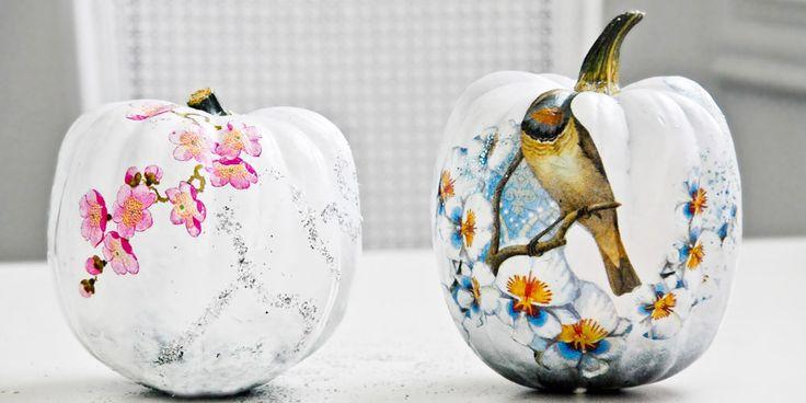 Funky decoupaged pumpkins