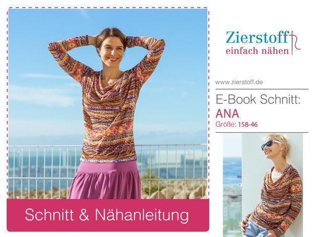 """*Kostenlose Schnittmuster als Serviceleistung von uns findest Du auf www.zierstoff.de/shop.*  Nähanleitung & Schnitt für ein Wasserfallkragen Shirt mit Raglanärmel """"ANA"""", Gr. 158-Damengr...."""