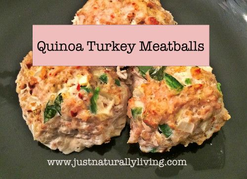 One of my favorite, go to meals in Quinoa Turkey Meatballs. They are delicious, easy to make and healthy!