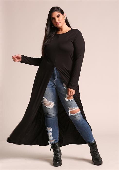 Plus Size Jersey Knit High Slit Maxi Top