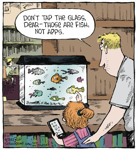 Funny Technology | Don't Tap the Glass Dear , , , Those are Fish Not Apps.