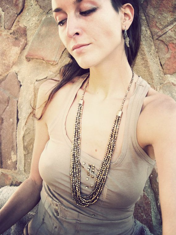 Golden long Necklace // brass look by SiamicWear on Etsy, €25.00