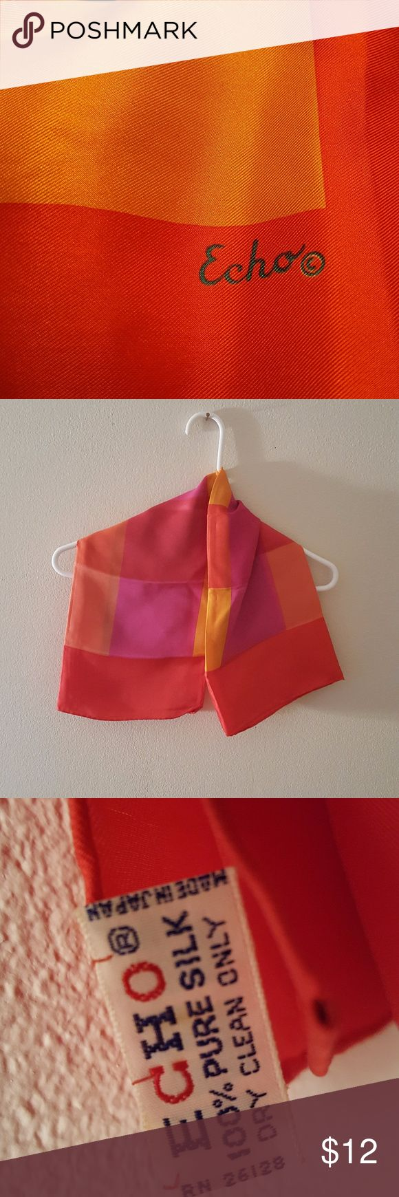 "100% SILK ECHO SCARF GORGEOUS, BRIGHT COLORS OF PINK, RED AND ORANGE.  MEASURES 30"" X 30"". Echo Accessories Scarves & Wraps"