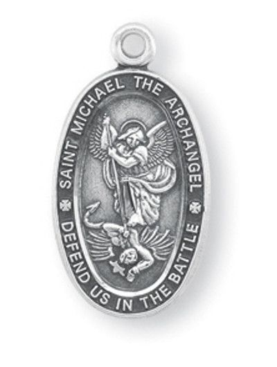 """HMH Religious Oval Small St Michael Defend us in Battle Sterling Silver Medal Necklace w/18"""" Chain"""