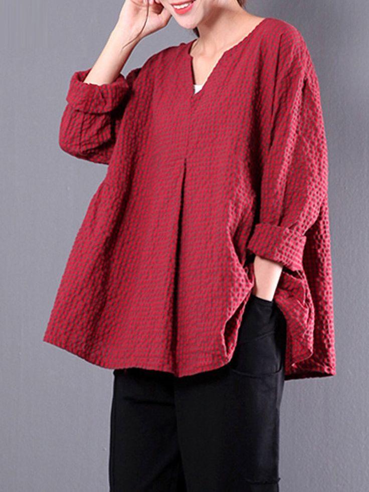 Casual Linen 3/4 Sleeve Gingham Linen Plus Size Blouse 13