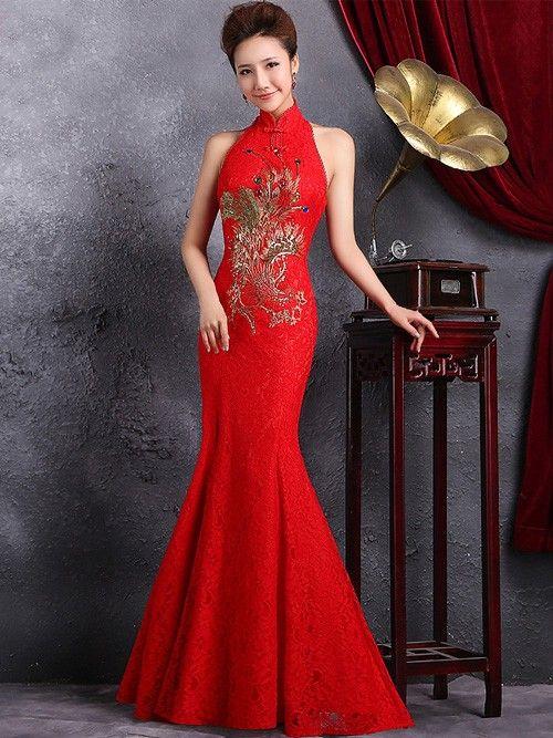 Red Sleeveless Fishtail Qipao / Cheongsam Dress with Mandarin Collar