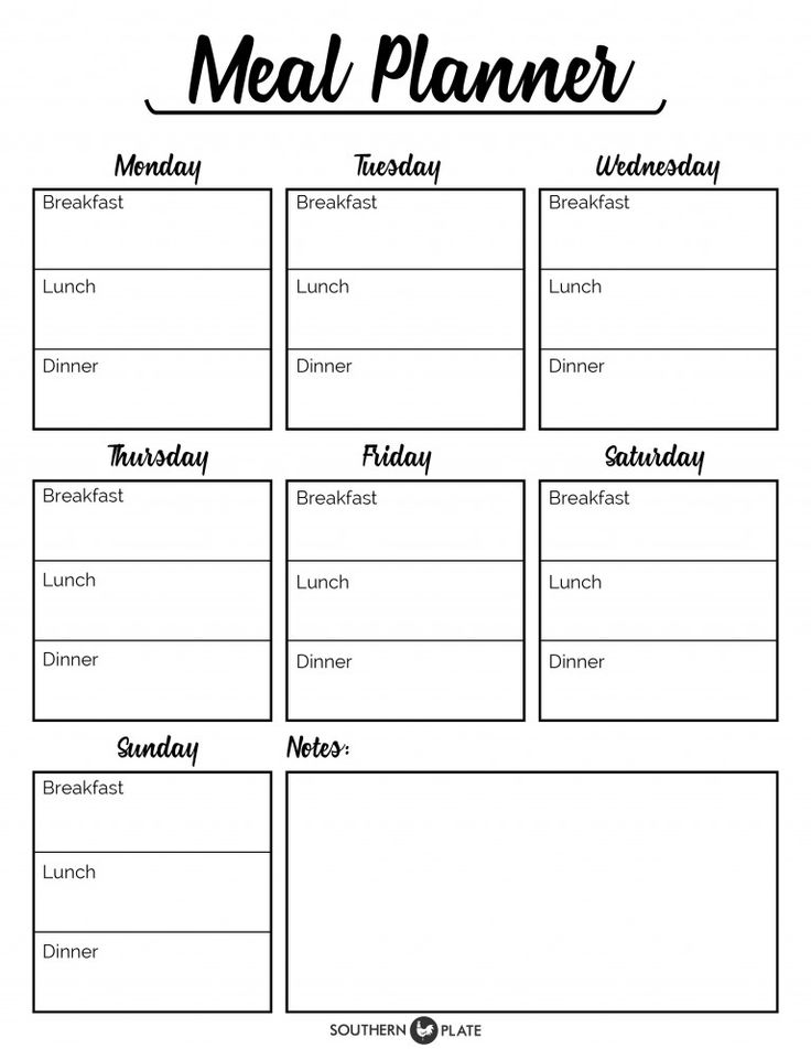 Free Printable Menu Planner Sheet ~ http://www.southernplate.com