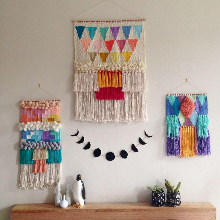 Woven wall hangings weavings by Maryanne Moodie www.maryannemoodie.com
