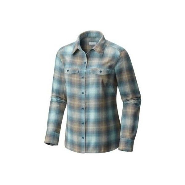 Women's Columbia Silver Ridge Long Sleeve Flannel Shirt ($65) ❤ liked on Polyvore featuring tops, polyester shirts, button-down shirt, short-sleeve button-down shirts, flannel shirt, long sleeve button up shirts and long-sleeve crop tops