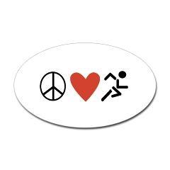PEACE LOVE RUN Oval Car Sticker!