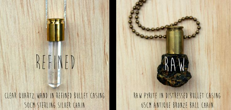 Raw and Refined Crystal Bullet Pendants by Untamed Army. Handmade in South Africa.