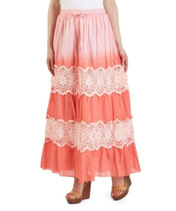 Coral Crochet Maxi Skirt  I really like finding good online discount clothing stores as I love to shop for all kinds of fashion and accessories.  I like finding cute, trendy and unique styles that are affordable and on sale.  I typically will buy women's dresses, shirts and skirts online as there are so many styles, colors and fabrics available.  You will be more than happy with your wardrobe after finding so many cute clothing and accessories at my favorite online discount clothing store.
