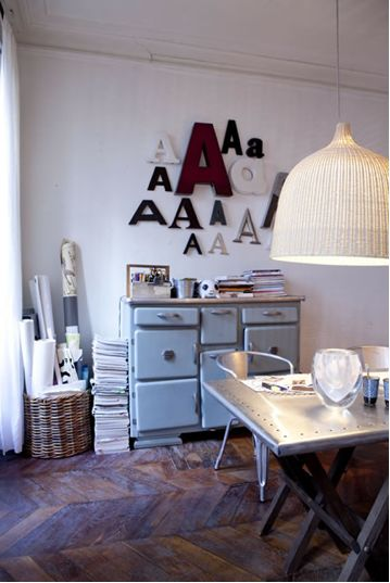 office space ideas but minus the letter A on the wall...instead the wall for hanging inspiring art stuff...maybe cork on the wall?