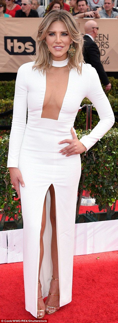 Cut-out queens: Keltie Knight and Charissa Thompson took the plunge in their elegant gowns...