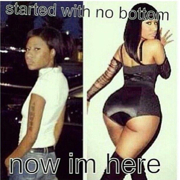 Nikki Minaj and her implants. This seems somewhat inhumanly possible...explanation  she's not human!