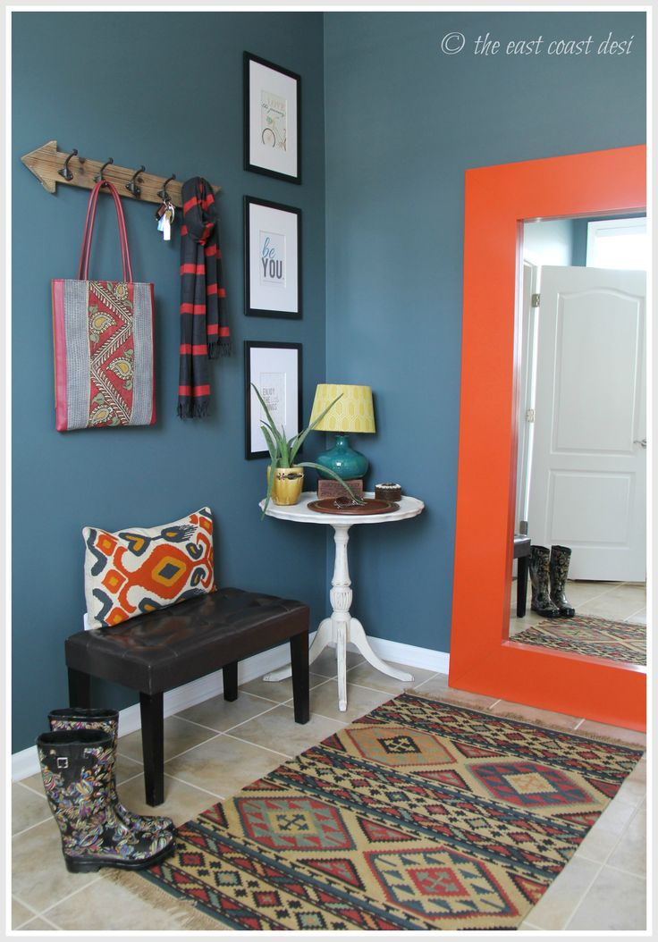 Eclectic Mudroom  - wall color - Still waters from Sherwin Williams