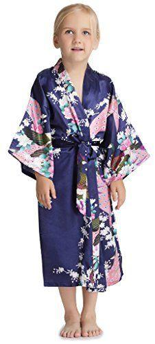 Aibrou Enfant kimono peignoir satin Pour enfant brodé Fille chemise nuit éponge femme robe Paon Fleurs de chambre longue garçon grande…