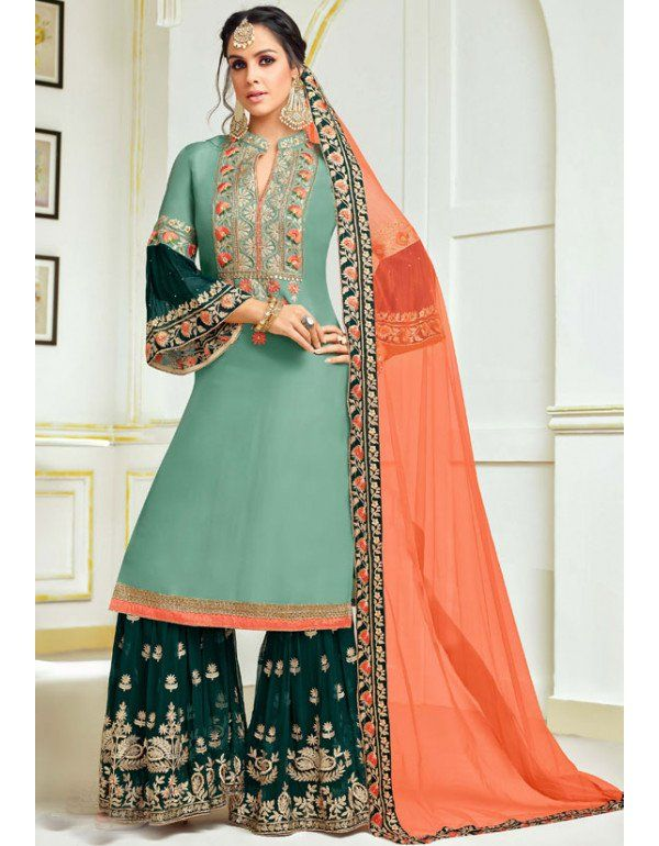 cf60eb0a4e Mint Green and Pine Green Embroidered Palazzo Kameez Sharara Suit, Indian Salwar  Suit, Pakistani