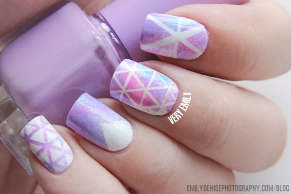 This ombre geometric nail art is very cute and unique try it out with regular colors not just ombré...