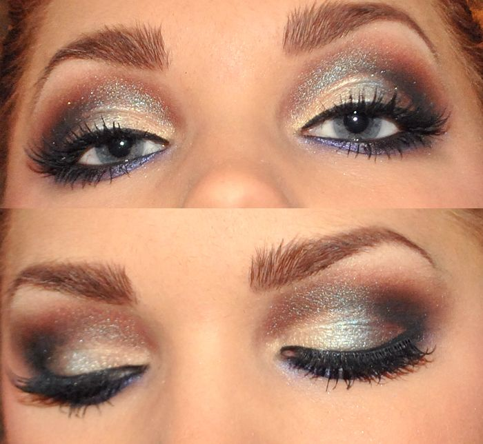 Pretty Glitter Smokey with purple/charcoal liner on the bottom lash line