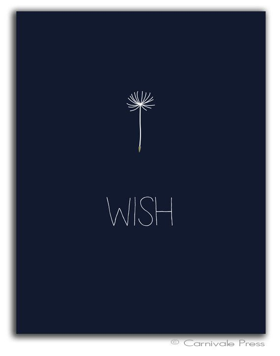 Wish with stick figure dandelion seed head stem Dandelion art print Typography Art Print by CarnivalePress, $10.00: