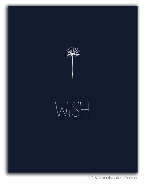 Wish with stick figure dandelion seed head stem Dandelion art print Typography Art Print by CarnivalePress, $10.00