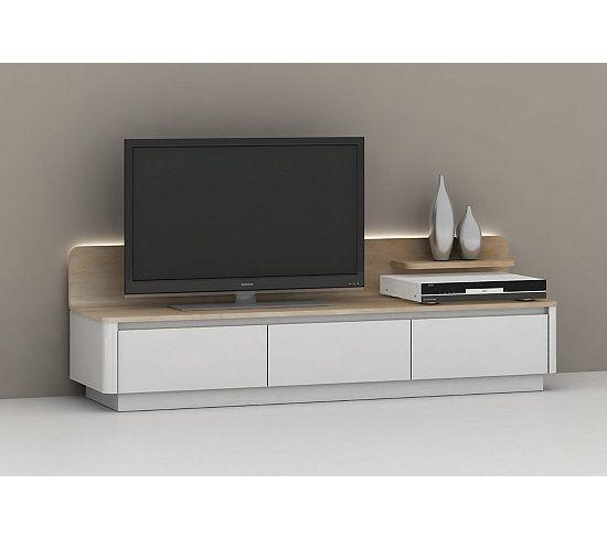 Meubles Tv - Meuble TV LED RETURN Blanc et chêne