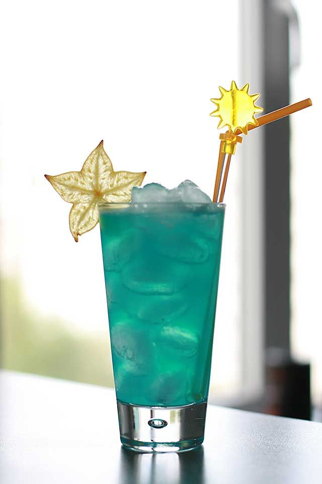 Common recipe for Blue Lagoon Cocktail specify vodka (as main alkohol), blue curacao liqueur (as sweetener) and lemonade (as deluent).