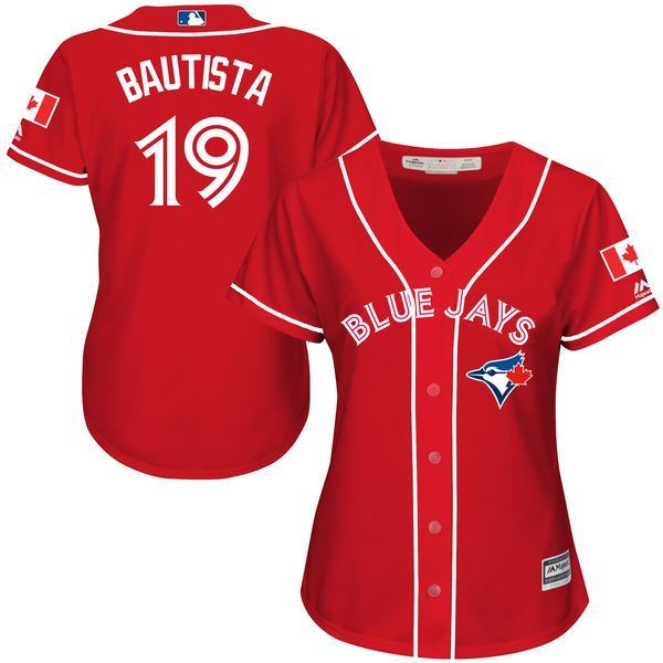 Jose Bautista Toronto Blue Jays Majestic Women's Canada Day Cool Base Player Jersey - Scarlet - $114.99