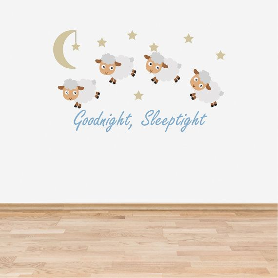 Wall Decal Nursery Goodnight Sleep Tight Counting Sheep Baby Room Wall Sticker Blue