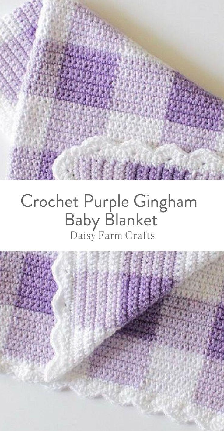 Padrão livre - Crochet Purple Gingham Baby Blanekt