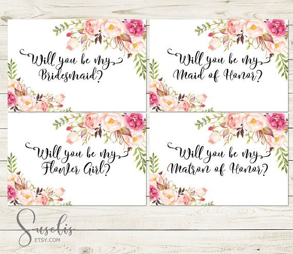 Will You Be My Bridesmaid Printable set DIY Wedding cards