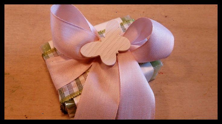 Bomboniera saponetta Aloe vera con nastro verde e rosa, farfalla decorativa per bimba <3
