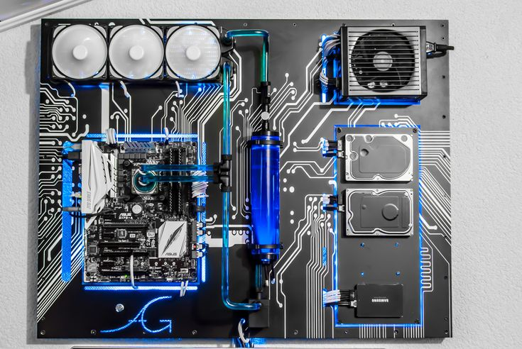 Wall Mounted Liquid Cooled Blue and Black Theme Custom Computer!