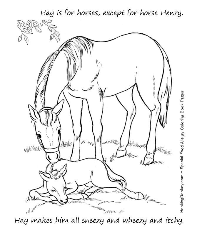 Food allergy coloring page free printable hay allergy coloring page activity sheet