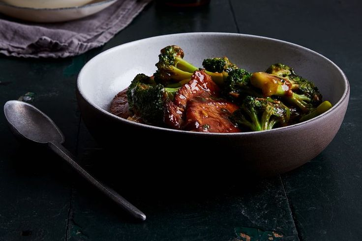 Pan-Fried Pork Chops with Scallions and Broccoli. Sub for cornstarch.
