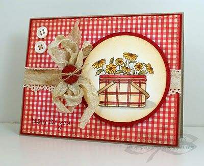 handmade card ... luv the warm feel of red gingham print ... sweet card ... photo inspired ...