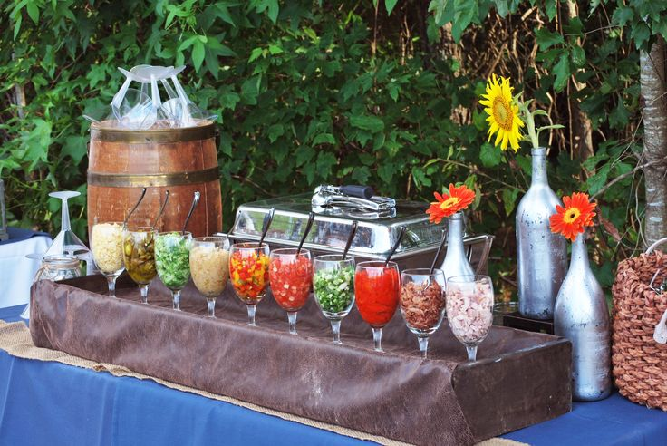 Garnish display for pasta bar inlet affairs catered for Food bar ideas for a party