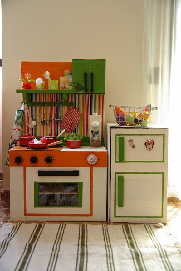 cmo hacer cocinas con cajas de cartn para nios slo utilizando cartn reciclado de cajas de embalaje y pinturas diy para hacer una cocinita de cartn