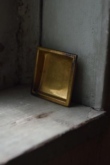 真鍮プレス チリだしスクエア引手  - アンティーク金物と古家具 つむぎ商會