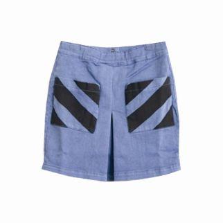 Bobo Choses Pleated Denim Chevron Print Skirt