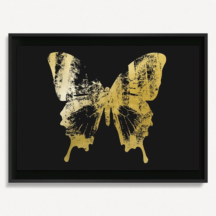 """Butterfly with Forest Wings 2 - Gold on Black - 36"""" H x 48"""" W Floated and Dry Mounted - Gold Leaf Foil on Fine Art Paper  Black - Wood Ash Frame #artsquaredinc #art #design #gold #goldleaf #artandnature #ButterflyForest #butterflyart"""