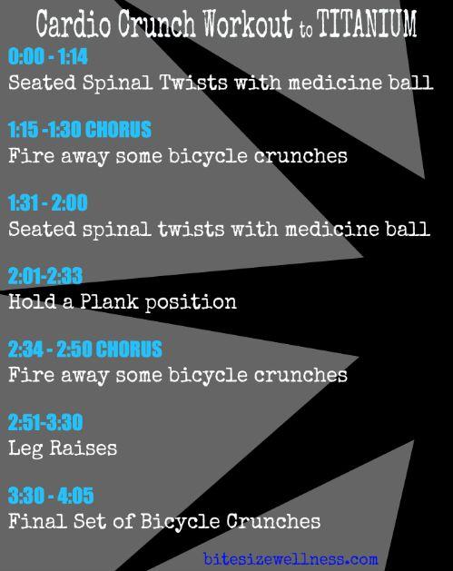 Cardio Crunch Workout to Titanium by David Guetta - www.BiteSizeWellness.com
