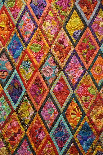 Kaffe Facett quilt pattern: Kaffe Quilt, Kaffe Fassett, Fassett Quilt, Color, Quilt Patterns, Bordered Diamond, Quilts, Beautiful Quilt, Diamond Quilt