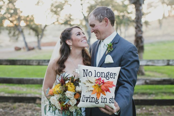 "Ring bearer pillow for rustic fall wedding. ""No longer living in sin"""